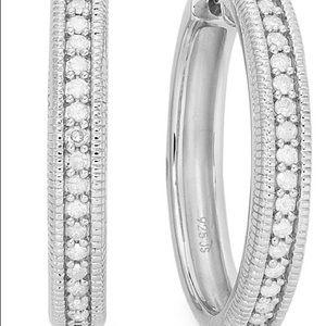 Macy's | Diamond Hoop Earrings in Sterling Silver